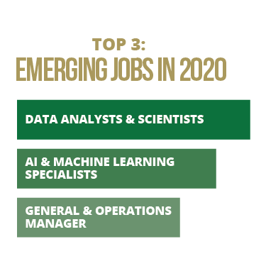 Top 3 Emergining Job in 2020: Data Analysts & Scientists; AI Machine Learning Specialists; General & Operations Manager