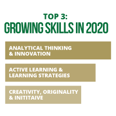 Top 3: Growing Skills in 2020: Analytical Thinking and Innovation; Active Learning & Learning Strategies; Creativity, Originality & Initiative